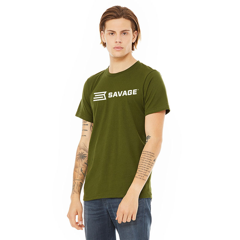 BELLA & CANVAS UNISEX SHORT SLEEVE JERSEY TEE w/WHITE SAVAGE LOGO (multiple colors available)