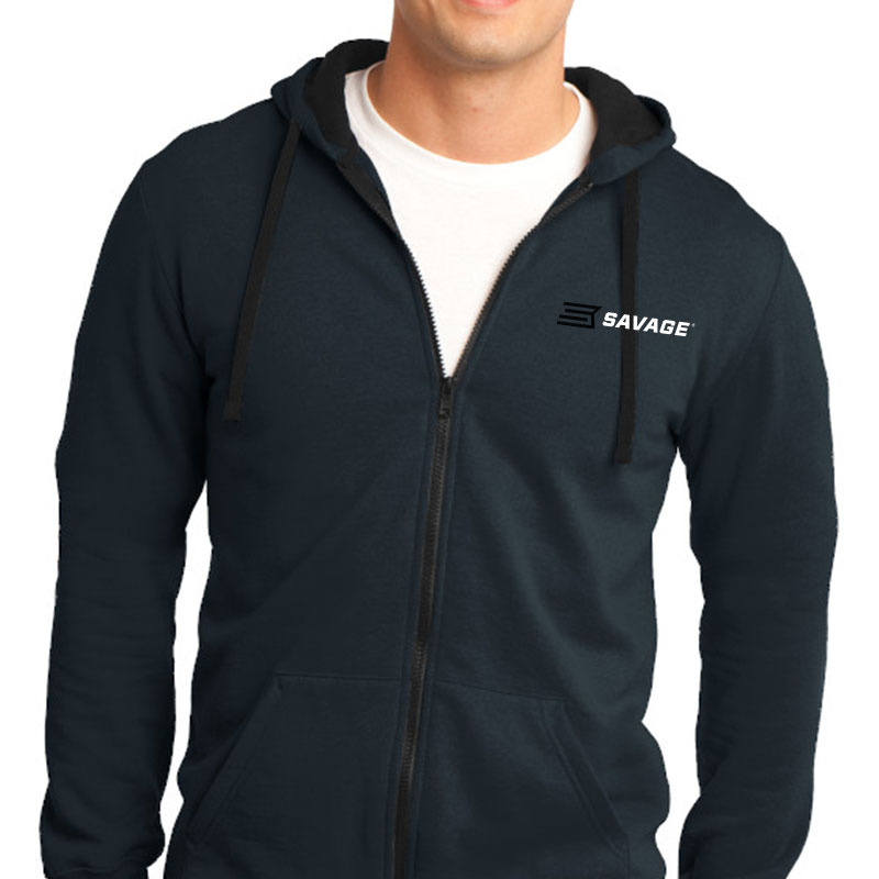 DISTRICT-THE CONCERT FLEECE- FULL ZIP HOODIE w/BLACK & WHITE SAVAGE LOGO