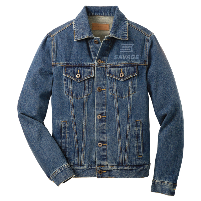 MENS DENIM JACKET WITH LASER ETCHED ANNIVERSARY LOGOS