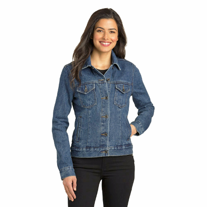 WOMENS DENIM JACKET WITH LASER ETCHED ANNIVERSARY LOGOS