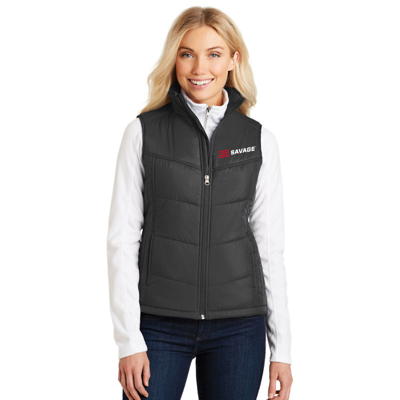 LADIES BLACK POLYESTER FULL ZIP VEST w/RED & WHITE SAVAGE LOGO