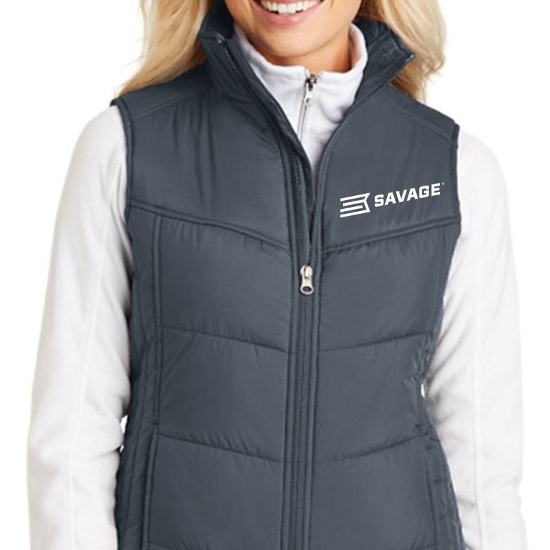 LADIES DARK SLATE POLYESTER FULL ZIP VEST w/WHITE SAVAGE LOGO