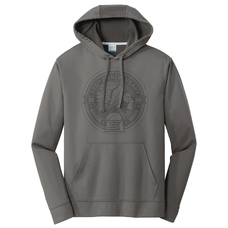 GRAY HOODED SWEATSHIRT WITH LASER ETCHED ANNIVERSARY LOGO