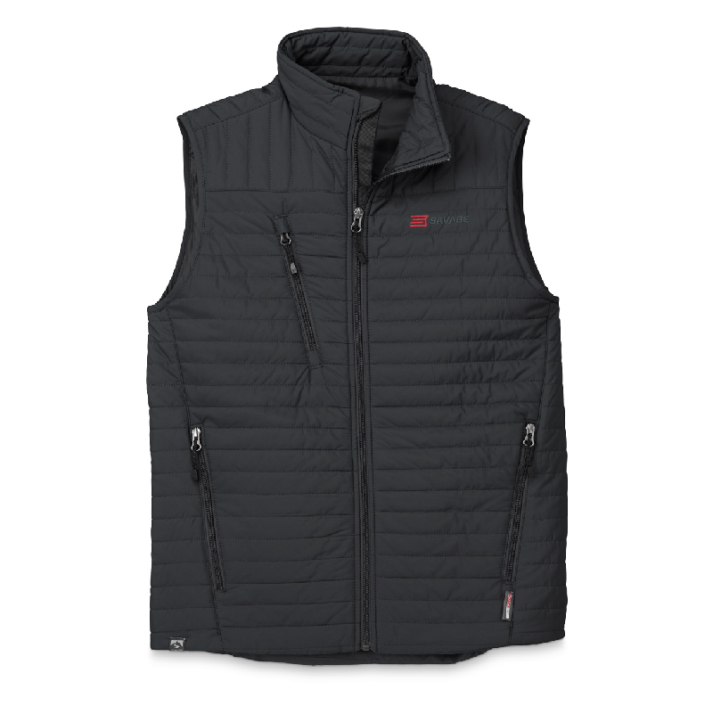 MENS BLACK QUILTED THERMOLITE VEST WITH SAVAGE LOGO
