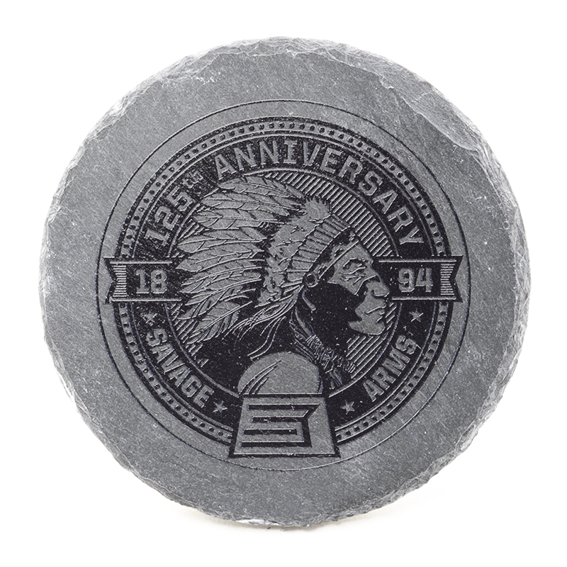 ROUND SLATE COASTER SET WITH 125TH ANNIVERSARY LOGOS