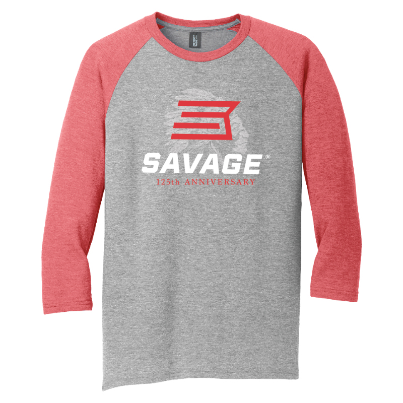 WOMEN'S 125TH ANNIVERSARY 3/4 SLEEVE BASEBALL RAGLAN T-SHIRT - RED/GRAY
