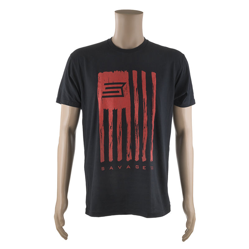 SHORT SLEEVE T-SHIRT w/ RED SAVAGE FLAG