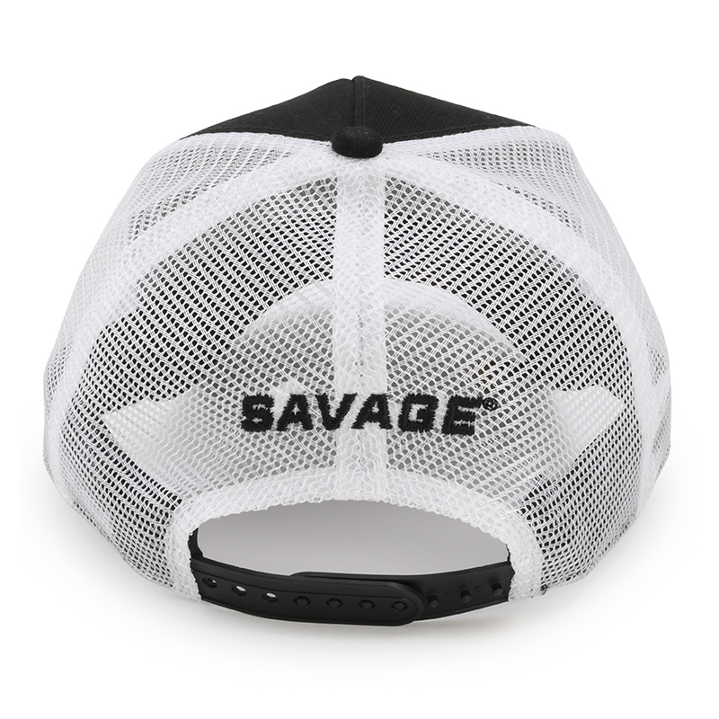 BLACK TRUCKER HAT w/ WHITE SAVAGE LOGO