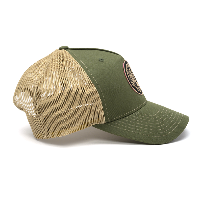 RICHARDSON TRUCKER CAP - GREEN & TAN WITH LEATHER PATCH