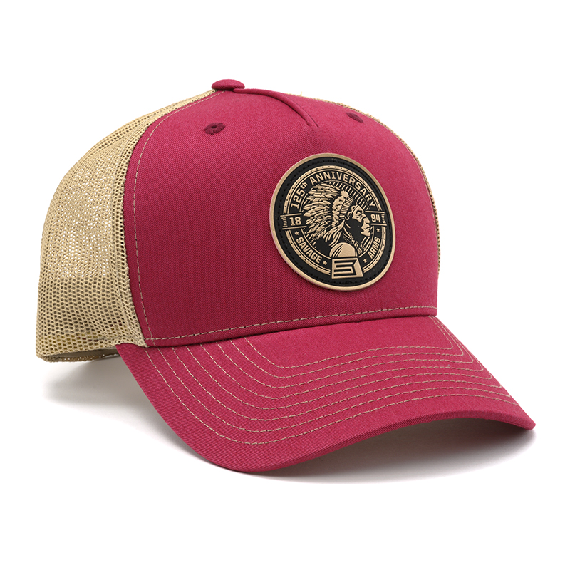 RICHARDSON TRUCKER CAP - RED & TAN WITH LEATHER PATCH