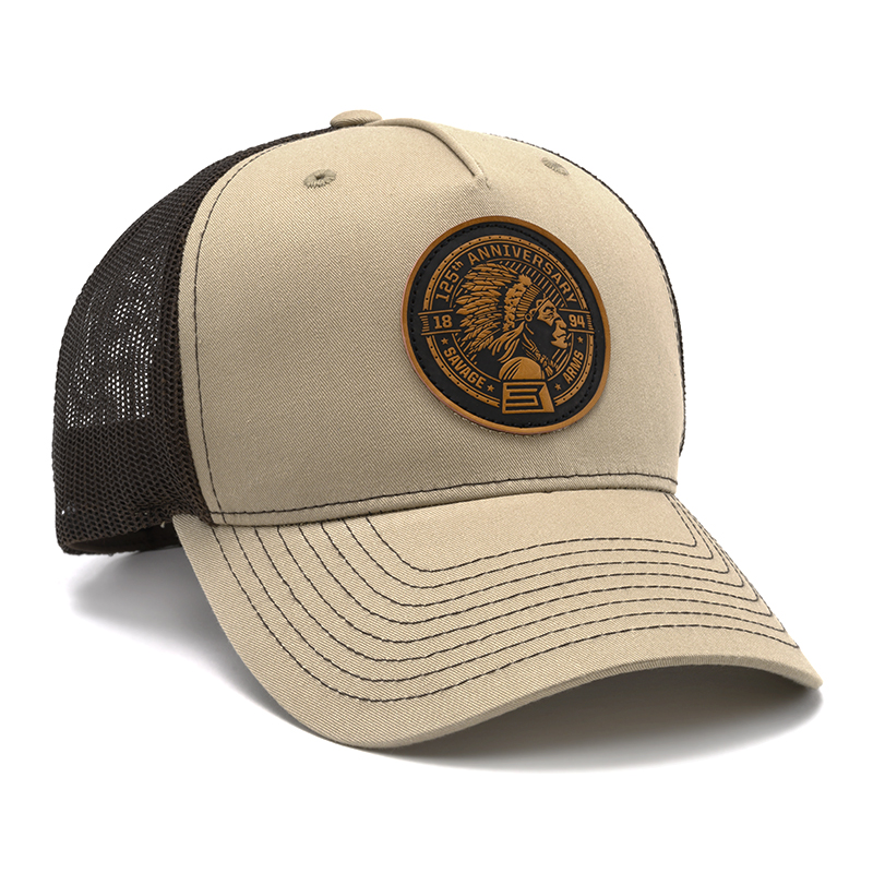 RICHARDSON TRUCKER CAP - TAN & BROWN WITH LEATHER PATCH