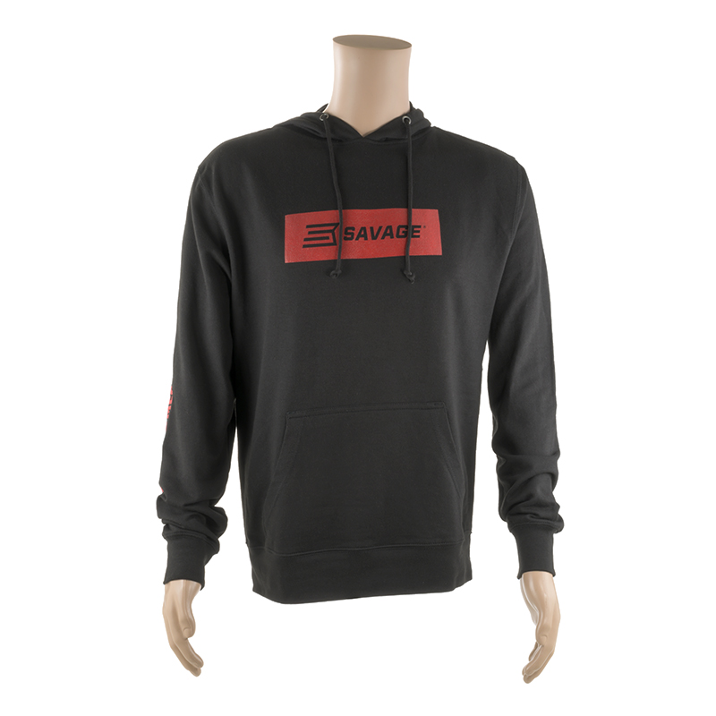 WOMEN'S LONG SLEEVE HOODED T-SHIRT w/ RED SAVAGE LOGO ON CHEST AND SLEEVE