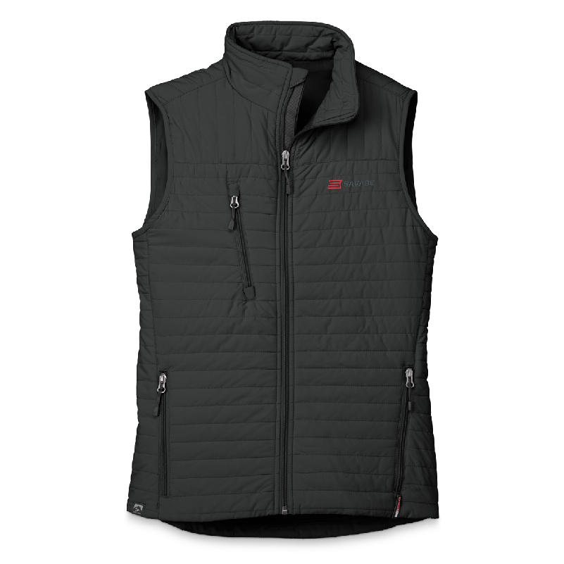 WOMENS BLACK QUILTED THERMOLITE VEST WITH SAVAGE LOGO