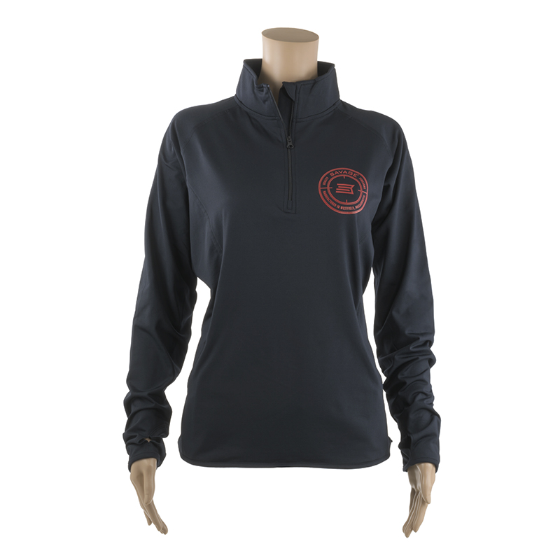 WOMEN'S HALF-ZIP PULLOVER w/ RED SAVAGE LOGO ON CHEST