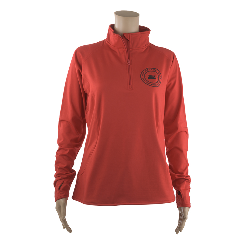 WOMEN'S RED HALF-ZIP PULLOVER w/ BLACK SAVAGE LOGO ON CHEST
